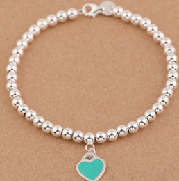 Wholesale Enamelled Heart Charms - Hot sale Charm Bracelets S925 Sterling Silver beads chain bracelet with enamel grenn pink heart for women and day gift jewelry