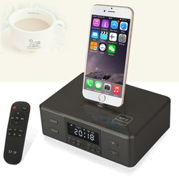 Wholesale Docking Audio Speakers - D9 Ternion Rotating Charger Dock Station NFC Bluetooth Stereo Speaker System With Alarm Clock,FM Radio for iOS,Android Phone Remote Control