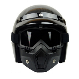 Wholesale Open Face Motorcycle Goggles - Wholesale- VCOROS Modular Mask Detachable Goggles And Mouth Filter Perfect for Open Face Motorcycle Half Helmet and Vintage Helmets