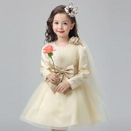 Wholesale Long Cream Prom Dresses - New Long Sleeve Little Flower Girls Dresses for Weddings Bateau Beading Cream Kids Prom Dresses