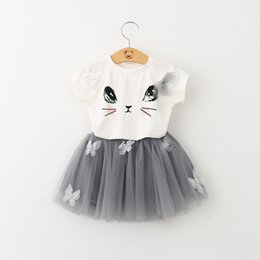 Wholesale Girls Outfit Skirt - 7 style two-piece Printed sleeveless cartoon t-shirt+short skirt cartoon outfit suspenders two-piece outfit