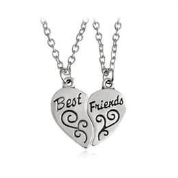 Wholesale Best Simple - 2 pcs set Broken Heart Pendant Necklace Best Friends Necklaces For Women Men Friend Simple Silver Color Love Friendship Jewelry