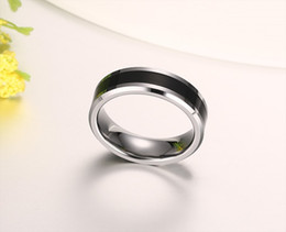 Wholesale Tungsten Ring Silver Inlay - Meaeguet 6mm Men's Tungsten Wedding Band Ring Black Carbon Fiber Inlay and Beveled Edges Bague anel Jewelry US Size 7-12 TCR-031