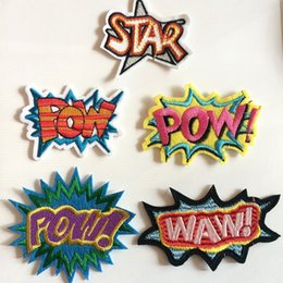 Wholesale Iron Letters Patches - Fabric Star Decorative Letters Embroidered Clothes Patches,Waw Sew On Iron On Letters Patch,Clothing Applique For Jackets,Jeans