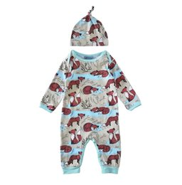 Wholesale Childrens Jumpsuits - Wholesale Boys Girls Baby Childrens Onesies Clothing Long Sleeve Rompers Hats Set Cartoon Fox Jumpsuits Toddler Kids Clothes Romper Suits
