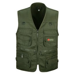 Wholesale Casual Loose Mens Vest - Wholesale- Spring And Autumn Male Vest Outwear Mens Casual Multi Pockets Cotton Mesh Vest Waistcoat Men loose Sleeveless Coat