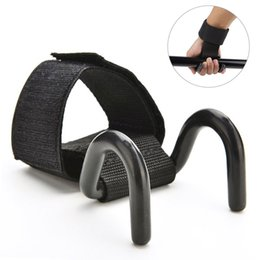 Wholesale Weight Lifting Wrist Support Hook - Wholesale- 1pcs Adjustable Strong Steel Hook Grips Straps Weight Lifting Strength Training Gym Fitness Black Wrist Support Lift Straps