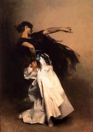 Ballerina spagnola - giovane e bella ragazza che balla in abito bianco, dipinta a mano Ritratto di olio su tela spessa, disponibili in diverse misure P0023 da