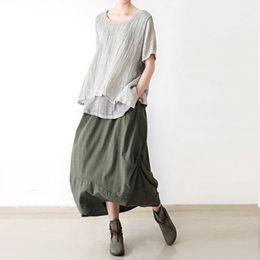 Wholesale Linen Cotton Skirts - Johnature Original Solid Color Women Cotton Linen Skirt 2016 New Irregular Fold Loose Plus Size Skirt Casual Pockets Vintage