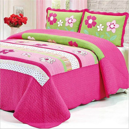 Wholesale Coverlet Red - Wholesale retail luxury quilted style cotton bedding set 3pcs set spring bed sheet coverlet pillowcase Home textile free shipping