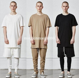 Wholesale Urban Mens T Shirts - New kpop streetwear hip hop kanye west pilots oversized t-shirts mens urban clothing plain extended longline t shirts M-XL