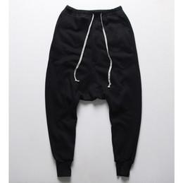 Atacado- mens corredores calças casuais harem pants homens preto moda swag dance drop crotch hip hop calças sweatpants para homens de Fornecedores de fato de macacão azul