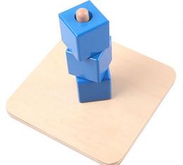 Apprentissage de l'école maternelle en Ligne-Gros-Montessori Enfants Jouet Bébé Bois Bleu Cube Socket Apprentissage Éducatif Préscolaire Formation Brinquedos Juguets