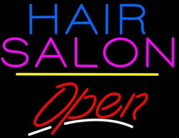 """Wholesale Salon Light Signs - New Hair Salon Open Glass Neon Sign Light Beer Bar Pub Sign Arts Crafts Gifts Lighting Size: 22"""""""