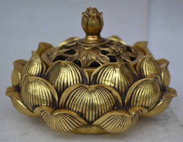 Wholesale Antique Brass Bucket - Details about Exquisite Buddhist lotus carved brass incense burner