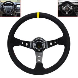 Wholesale 14 Inch Steering Wheels - 14 Inch Racing Car Steering Wheel Universal 350mm Deep Dish Steering Wheel with Suede Leather Cover CIA_104