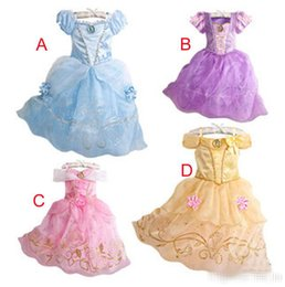 Wholesale Dresses Sleeveless Girls - 4 Color Big Girl Cinderella princess dress purple rapunzel dress Sleeping beauty princess party birthday lace sleeveless dresses
