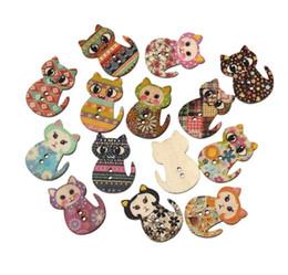 Wholesale Wholesale Cat Shape Goods - 100PCs Natural Wooden Buttons Cute Cat Shape Decorative Sewing Buttons 2 Holes Scrapbooking Crafts DIY 3x2.3cm