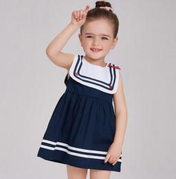 Wholesale Sailor Clothes For Girl - Girls Sleeveless Dresses Summer Sailor Collar Dress For Child Girl 2017 New Toddler Clothing Kids Children Clothes
