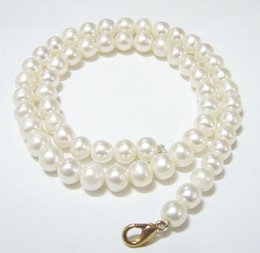 Wholesale Freshwater Lobsters - 10pcs lot White Round Freshwater Pearl Fashion Necklace Lobster Clasp 16inch For DIY Craft Fashion Jewelry Gfit Free Shipping P8