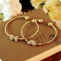 Wholesale Diamond Bow Bracelets - Hot sell Fashion bracelet Exquisite Full Diamond Peach heart bow-knot Bracelets S018