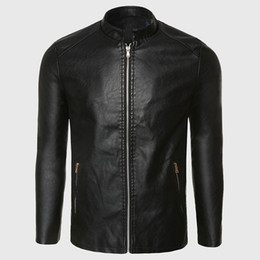 Wholesale Leather Punk Jackets Men - Biker Leather Jacket Men PU Leather Suede Jacket Male Aviator Flight Suit Black Biker Clothing Slim Zipper Motorcycle Punk Style