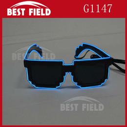 Wholesale Bar Sunglasses - Wholesale- Free shipping 8 bit pixel light up el wire led flashing mosaic glasses EDM EDC Rave Party Bar Eyeswear Accessory Sunglasses
