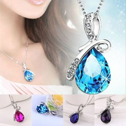 Wholesale Snake Necklaces Stainless Steel - Wholesale-2016 New Wholesale Austria Crystal Jewelry Water Drop Pendants Necklaces 18K White Gold Silver Plated for Women Christmas Gift