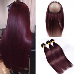 Wholesale Wine Hair Color - Burgundy 360 Lace Frontal Closure With Bundles #99J Wine Red Straight Brazilian Virgin Human Hair Weaves With 360 Full Lace Band Frontals
