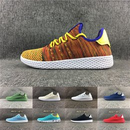 Wholesale Rainbow 45 - 2017 Originals Pharrell Williams x Stan Smith Tennis HU Primeknit shoes Rainbow men and women Running Shoes sports shoes cheap eur 36-45