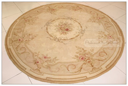 7x7 Round Aubusson Area Rug Antique French Pastel Wool Country Home Decor Carpet Bedroom Living Room Dining Room Hallway Homedecor