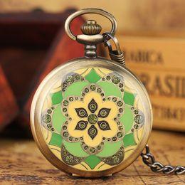 Wholesale Enamel Watch Pendant - Vintage Green Jade Crystal Enamel Flower Skeleton Mechanical Pocket Watch Charm Pendant Necklace Women Windup Clock Gifts Elders