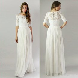 Wholesale T Back Chiffon Wedding Gown - 2018 Bohemian Vintage Long Beach Bridesmaid Dresses with Half Sleeves Lace Buttons Back Boho Wedding Party Guest Gowns robe de mariage