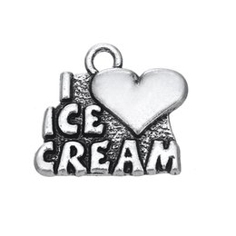 Wholesale Love Ice Cream - Hot Selling Personalized Heart with Letter I love ice cream DIY Charm For Jewelry Gift