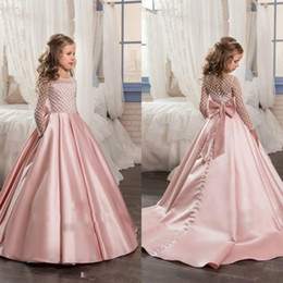 Wholesale Girls Pink Bow Dress Long - Pretty Long Sleeves Pink 2017 Girl's Pageant Dresses With Bow Knot Satin Beaded Ball Gown Floor Length Flower Girl's Dresses