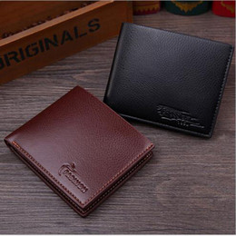 Wholesale Trifold Men Wallet - New Vintage PU Business Imitation Leather Mens Wallets Fine Bifold Brown Black PU Leather Credit Card Cool Trifold Wallet for Men