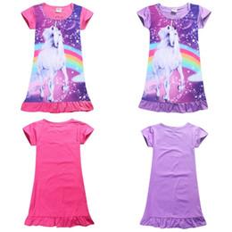 Wholesale Wholesale Christmas Pajamas - Summer Girl Dress Unicorn Cartoon Pajamas Baby Kids Nightwear Cute Short Sleeve Falbala Dress Loose Sleepwear clothes