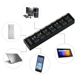 Wholesale China Uk Adapter - Freeshipping 7 Ports USB 3.0 Hub Splitter LED Light Adapter Charging Port Electronic Switch 5Gbps UK Plug