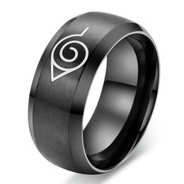 Wholesale Coolest Party Accessories - Anime Naruto Ring Fine Jewelry 8mm Black Cool Men Jewelry Stainless Steel Mens Man Party Accessories Usa Size