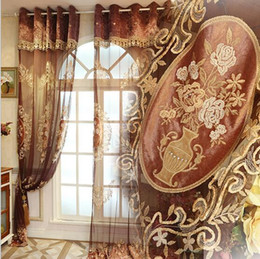 Wholesale Red Curtains For Living Room - High end lace Chenille luxury floral embroidered voile Window sheer Curtains Tulle for Living Room Bedroom Hotel wine red wholesale fabric