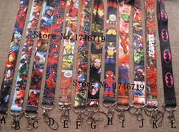 hermano hermana anillo Rebajas Venta al por mayor Popular Cartoon Superhero Lanyards Keychain ID Badge Holder u-37