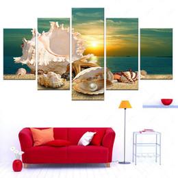 Панель оболочки онлайн-Новый увлекательный морской сцены современного искусства картина для домашнего декора холст искусство Shell море печатных живопись 5 панель без рамки