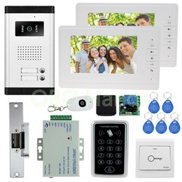 Wholesale Video Intercom Keypad Systems - 7'' color video door phone intercom camera with rfid door access control keypad system kit set +electric lock for apartments