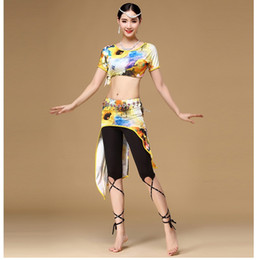 Wholesale Professional Belly Dance Skirt - Women Belly Dance Clothing 2017 Professional Plus Size Belly Dance Costume Set Top+Skirt 2pcs Floral Print Ladies Belly Dance Outfit FN064
