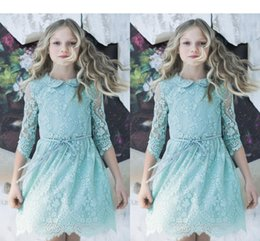 Wholesale Cheap Toddlers Tutu Dresses - Tutu Flower Girl Dresses 2017 Mint Blue Cheap Girl's Long Sleeve Kids Lace Wedding Dresses Toddler Pageant Gowns For Little Girls