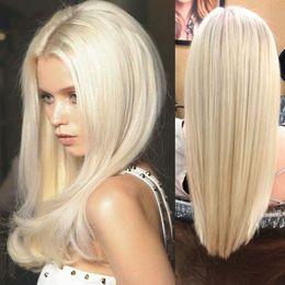 2020 cabelo loiro de platina cabelo humano # 60 Platina Loira Perucas de Cabelo Humano 130% Densidade Peruca Cheia Do Laço Dianteira do Laço peruca Brasileira Do Cabelo Humano Sem Cola Cheia Do Laço Perucas de Cabelo Humano desconto cabelo loiro de platina cabelo humano
