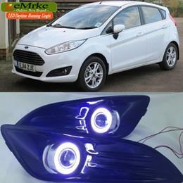Wholesale Ford Drl Kit - Car Styling COB DRL For Ford Fiesta 2014 2015 2016 LED Angel Eyes Fog Lights H11 55W Halogen Bulbs Daytime Running Lights Kits