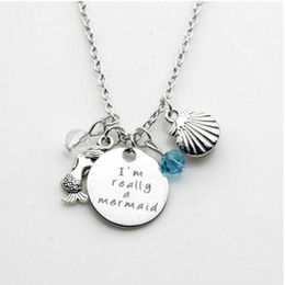 Wholesale Little Girls Gifts - 12pcs lot little mermaid inspired necklace,I'm really a mermaid shell crystal pendant necklace for women or girls jewelry gift