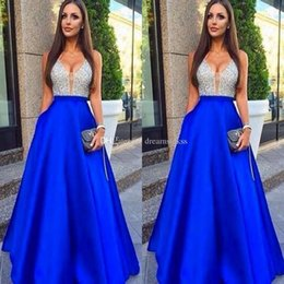 Wholesale Pic Arts - 2017 New Sexy Deep V-Neck Satin Prom Dresses A-Line Beads Backless Zipper Floor-Length Evening Dresses Real Pic Custom Made Guest Dresses