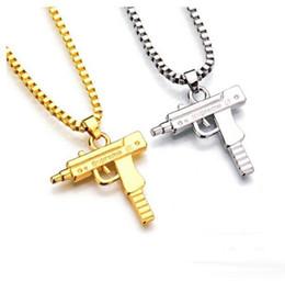Wholesale Gun Shape Dhl - DHL 100PCS Uzi Gold Silver Chain Hip Hop Long Pendant Necklace Men Women Fashion Brand Gun Shape Pistol Pendant Maxi Necklace HIPHOP Jewelry